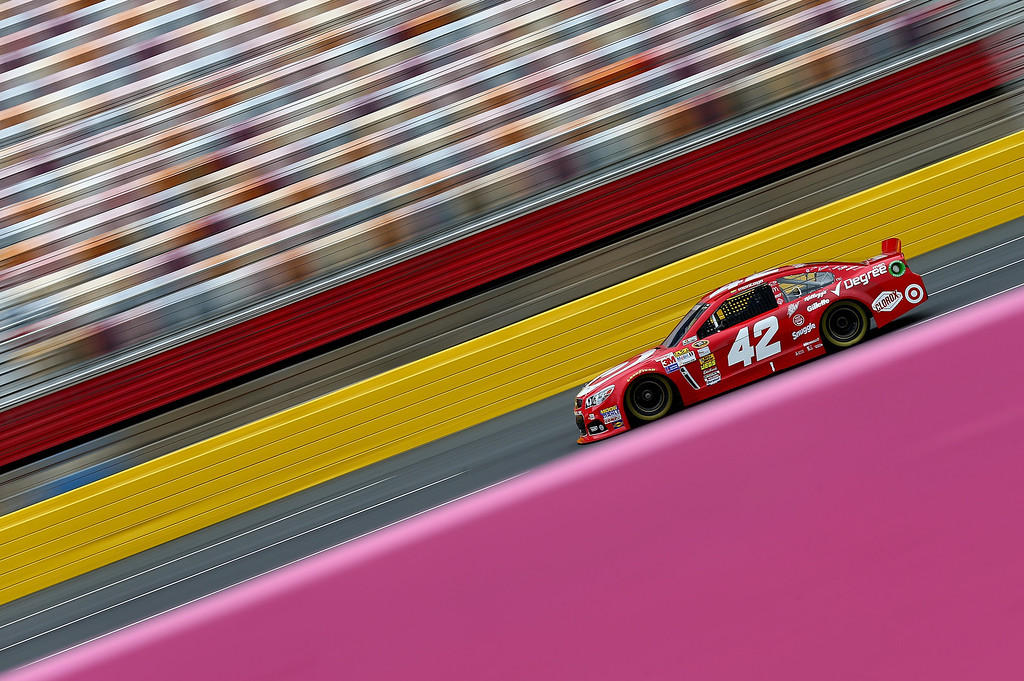 . CONCORD, NC - OCTOBER 11:  Juan Pablo Montoya drives the #42 Target Chevrolet during practice for the NASCAR Sprint Cup Series Bank of America 500 at Charlotte Motor Speedway on October 11, 2013 in Concord, North Carolina.  (Photo by Streeter Lecka/Getty Images)