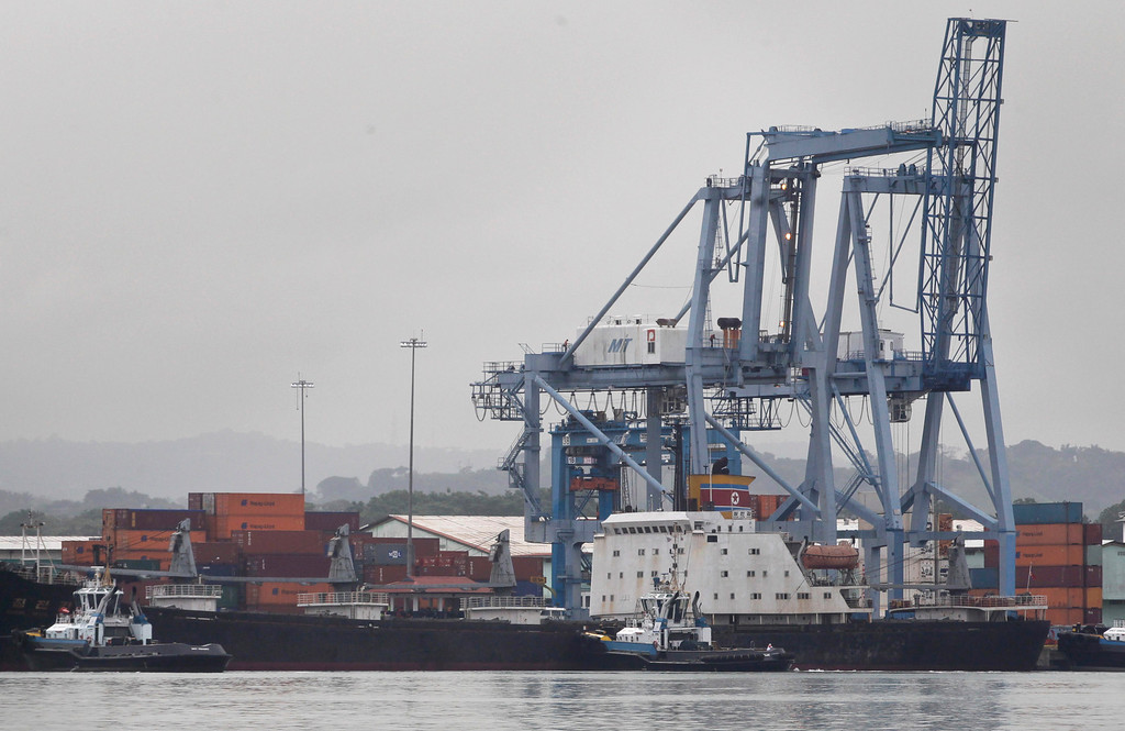 . The North Korean-flagged cargo ship Chong Chon Gang sits docked at the Manzanillo International container terminal on the coast of Colon City, Panama, Tuesday, July 16, 2013.  (AP Photo/Arnulfo Franco)