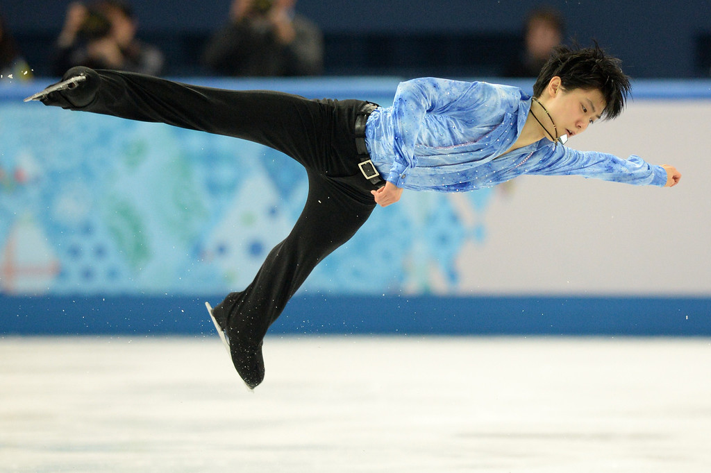 . Japan\'s Yuzuru Hanyu performs during the Men\'s Figure Skating Short Program at the Iceberg Skating Palace during the Sochi Winter Olympics on February 13, 2014.  YURI KADOBNOV/AFP/Getty Images