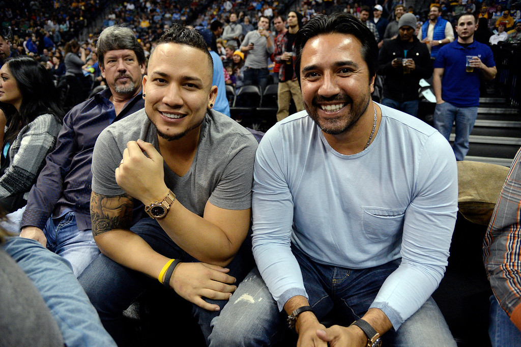 . Colorado Rockies Carlos Gonzalez and Vinny Castilla enjoying the game with the Denver Nuggets versus the Oklahoma City Thunder January 9, 2014 at Pepsi Center. (Photo by John Leyba/The Denver Post)