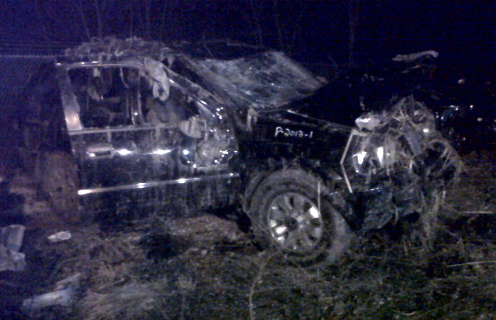 . This Sunday, March 10, 2013 photo shows a Honda Passport that crashed into a guardrail and flipped over into a swampy pond Sunday morning in Warren, Ohio. Highway Patrol officials say speed was a factor in the violent early morning crash of the vehicle that killed six teenagers in northeast Ohio. (AP Photo/Tom Sheeran)