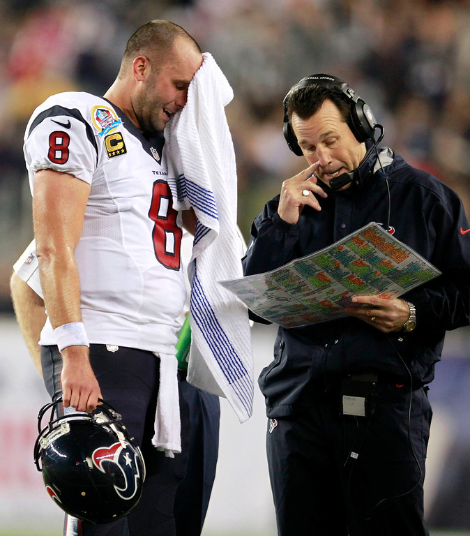 . Houston Texans quarterback Matt Schaub (8) and head coach Gary Kubiak talk during the second quarter of an NFL football game against the New England Patriots in Foxborough, Mass., Monday, Dec. 10, 2012. (AP Photo/Steven Senne)