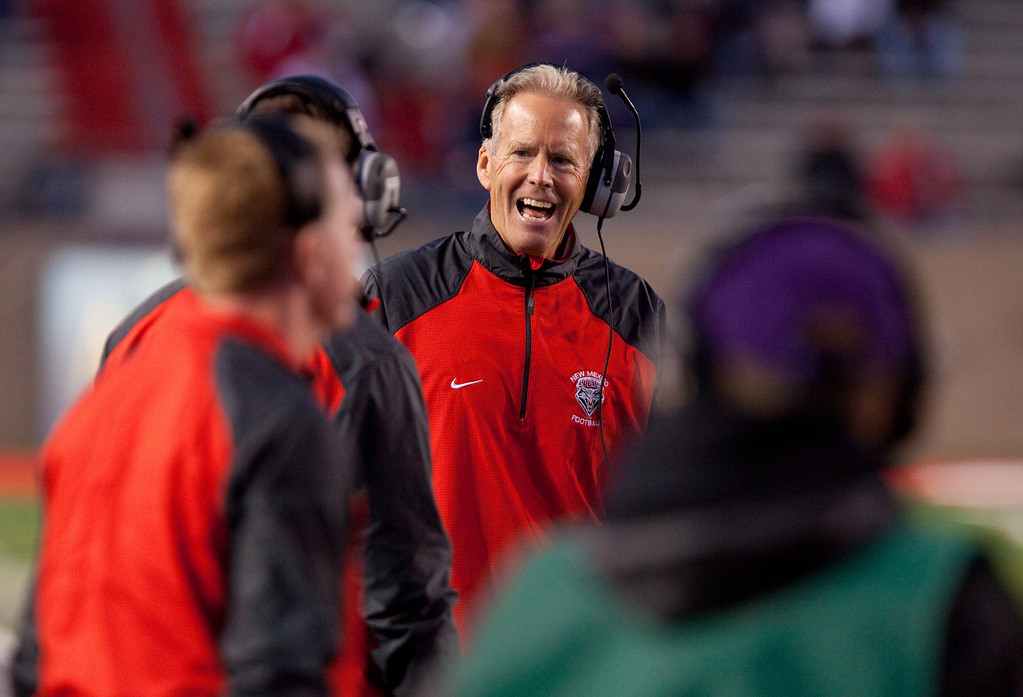 . New Mexico head football coach Bob Davie reacts on the sideline in the first half of an NCAA college football game on Saturday, Nov. 16, 2013 in Albuquerque, N.M. Colorado State won 66-42. (AP Photo/Eric Draper)
