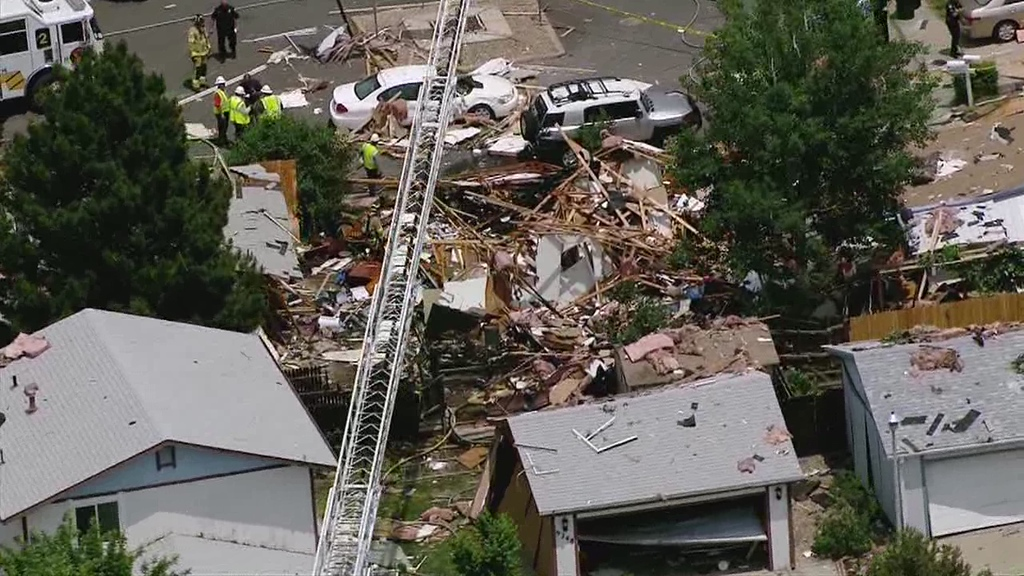 . Four houses were damaged by a blast, with two sustaining heavy damage Thursday, June 13, 2013. Preliminary indications are that a natural gas leak led to the explosion. 7News