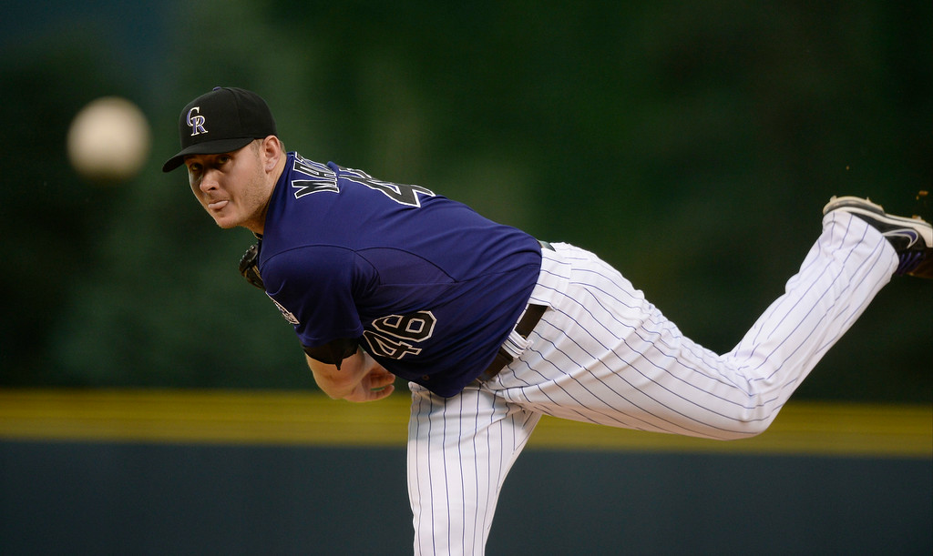 . Colorado Rockies starting pitcher Tyler Matzek (46) delivers a pitch against the San Diego Padres July 7, 2014 at Coors Field. (Photo by John Leyba/The Denver Post)