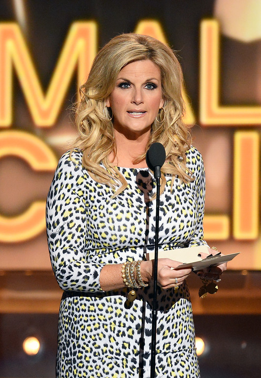 . Singer Trisha Yearwood speaks onstage during the 49th Annual Academy Of Country Music Awards at the MGM Grand Garden Arena on April 6, 2014 in Las Vegas, Nevada.  (Photo by Ethan Miller/Getty Images)