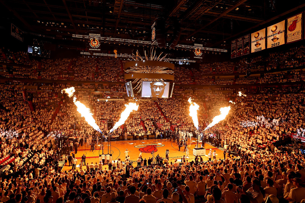 . Fire is seen during pre-game introductions before the Miami Heat take on the San Antonio Spurs in Game One of the 2013 NBA Finals at AmericanAirlines Arena on June 6, 2013 in Miami, Florida. (Photo by Christian Petersen/Getty Images)