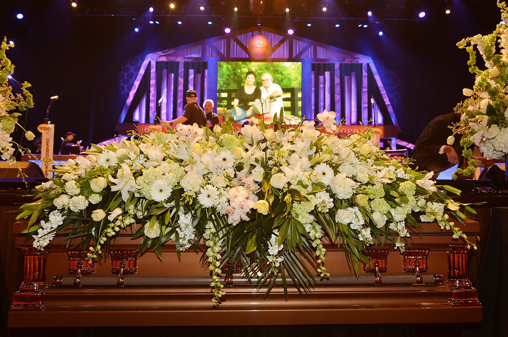 . General view of the atmosphere at the funeral service for George Jones at The Grand Ole Opry on May 2, 2013 in Nashville, Tennessee. Jones passed away on April 26, 2013 at the age of 81.  (Photo by Rick Diamond/Getty Images for GJ Memorial)