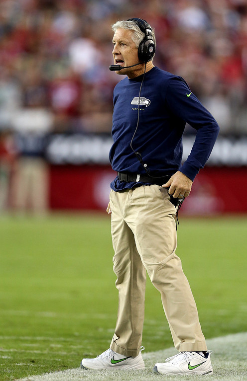 . GLENDALE, AZ - OCTOBER 17: Head coach Pete Carroll of the Seattle Seahawks looks on during a game against the Arizona Cardinals at the University of Phoenix Stadium on October 17, 2013 in Glendale, Arizona.  (Photo by Christian Petersen/Getty Images)