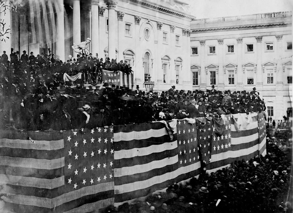 . The public inauguration of Rutherford B. Hayes takes place in front of the U.S. Capitol on the East Portico in Washington, D.C., on March 5, 1877. (AP Photo)