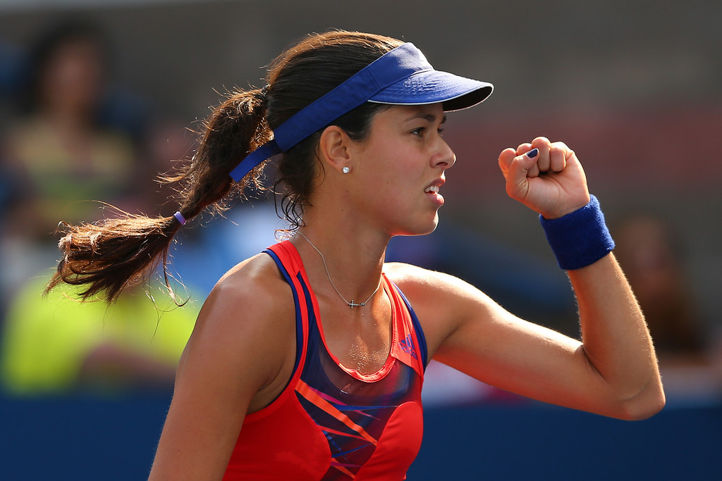 . NEW YORK, NY - AUGUST 29:  Ana Ivanovic of Serbia celebrates match point in her women\'s singles second round match against Alexandra Dulgheru of Romania during their second round match on Day Four of the 2013 US Open at USTA Billie Jean King National Tennis Center on August 29, 2013 in the Flushing neighborhood of the Queens borough of New York City.  (Photo by Elsa/Getty Images)