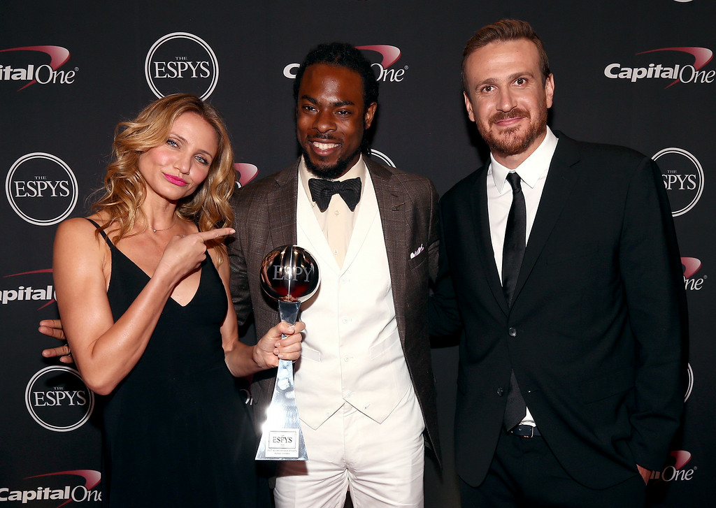. LOS ANGELES, CA - JULY 16:  (L-R) Actress Cameron Diaz, NFL player Richard Sherman and Actor Jason Segel acepting the award for Best Breakthrough Athlete at The 2014 ESPYS at Nokia Theatre L.A. Live on July 16, 2014 in Los Angeles, California.  (Photo by Christopher Polk/Getty Images For ESPYS)