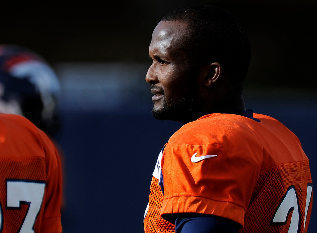 . Denver Broncos Champ Bailey (24) looks on during practice December 18, 2013 at Dove Valley (Photo by John Leyba/The Denver Post)
