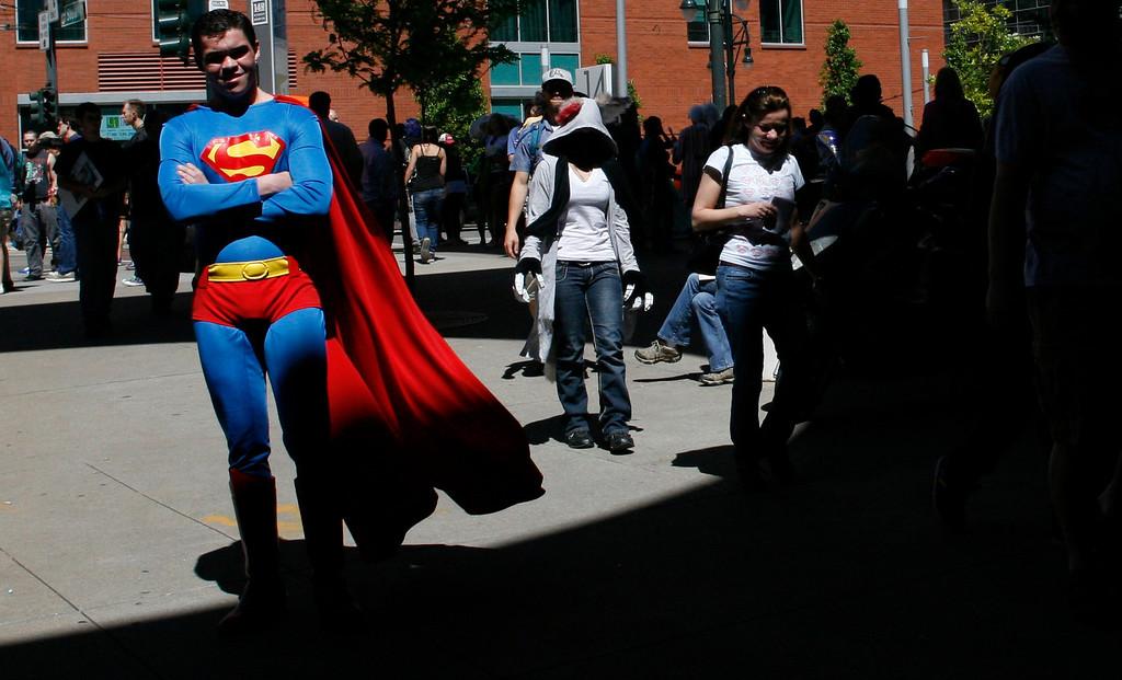 . DENVER, COLORADO - JUNE 1: Superman, in classic pose, at Denver Comic Con on Saturday, June 1, 2013. The Denver Comic Con is at the Colorado Convention Center May 31 through June 2, 2013. (Photo by Daniel J. Schneider/The Denver Post)