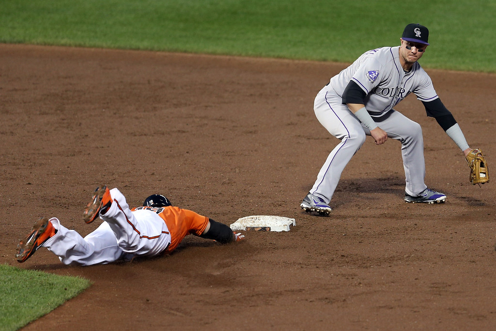 . BALTIMORE, MD - AUGUST 17: Chris Davis #19 of the Baltimore Orioles slides safely into second base for a double as shortstop Troy Tulowitzki #2 of the Colorado Rockies catches the ball during the third inning at Oriole Park at Camden Yards on August 17, 2013 in Baltimore, Maryland.  (Photo by Rob Carr/Getty Images)