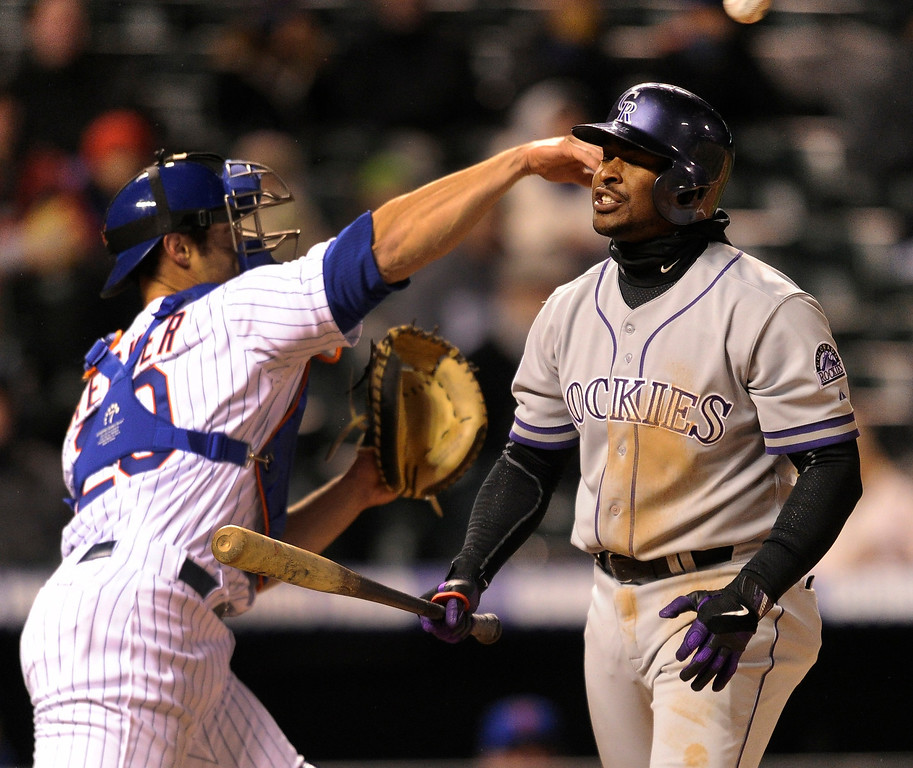 . DENVER, CO. - APRIL 16:  Rockies batter Chris Nelson reacted after he struck out in the fourth inning. The Colorado Rockies hosted the New York Mets in the second game of a doubleheader Tuesday night, April 16, 2013. Monday night\'s game was snowed out at Coors Field.  Photo By Karl Gehring/The Denver Post)