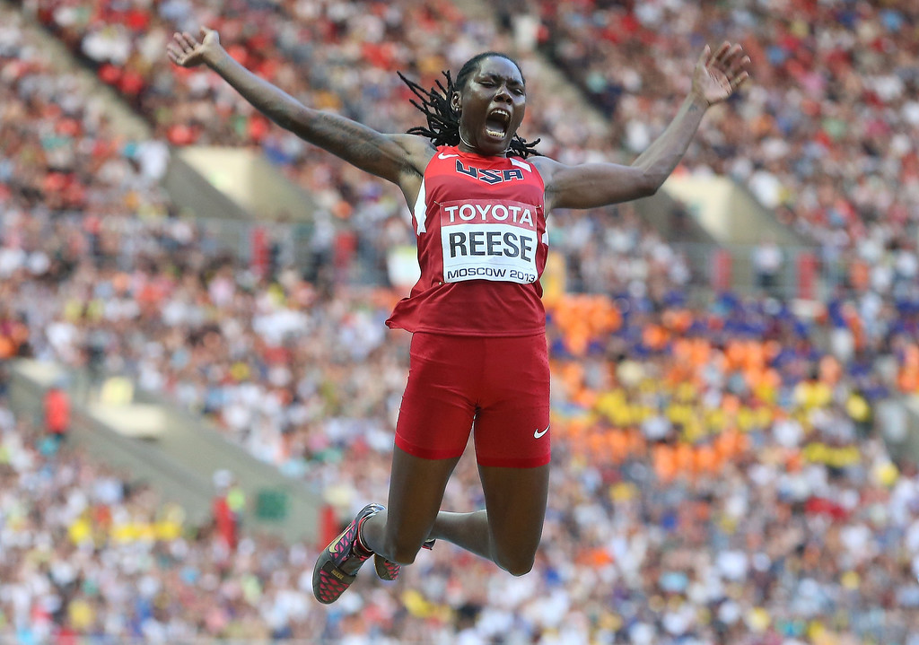 . Brittney Reese of the United States competes in the Women\'s Long Jump final during Day Two of the 14th IAAF World Athletics Championships Moscow 2013 at Luzhniki Stadium on August 11, 2013 in Moscow, Russia.  (Photo by Christian Petersen/Getty Images)