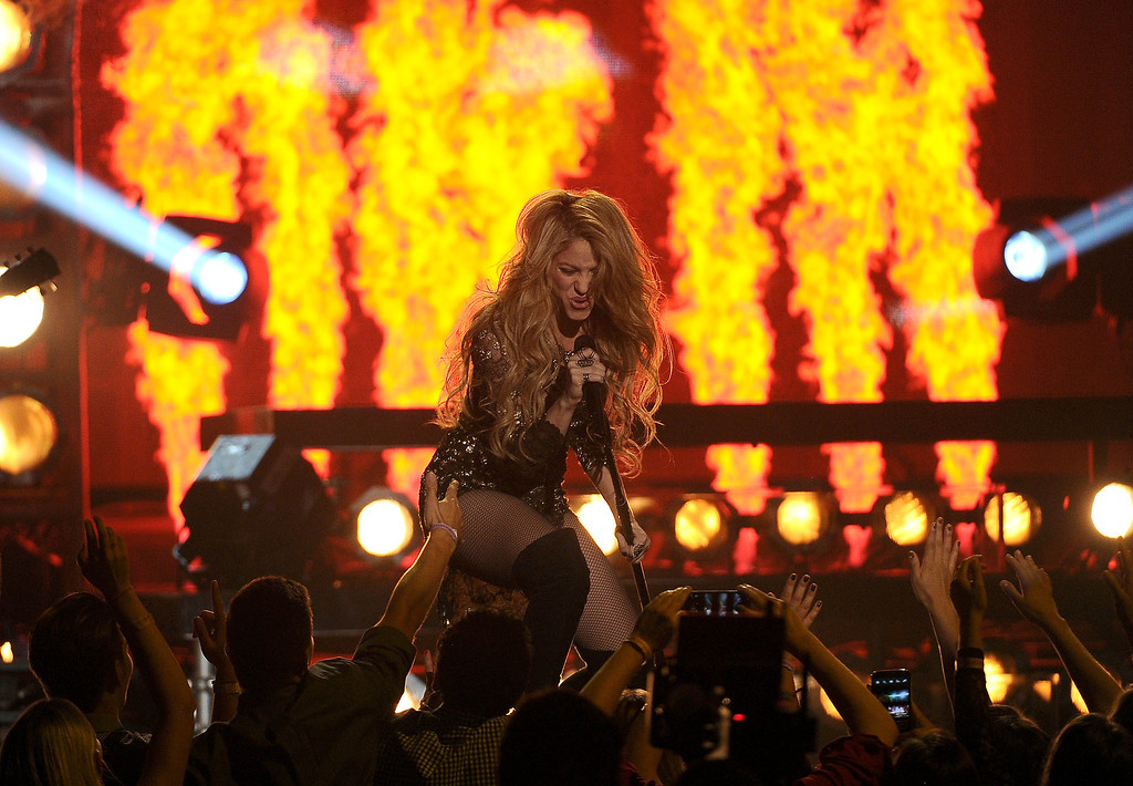 . Shakira performs at the Billboard Music Awards at the MGM Grand Garden Arena on Sunday, May 18, 2014, in Las Vegas. (Photo by Chris Pizzello/Invision/AP)