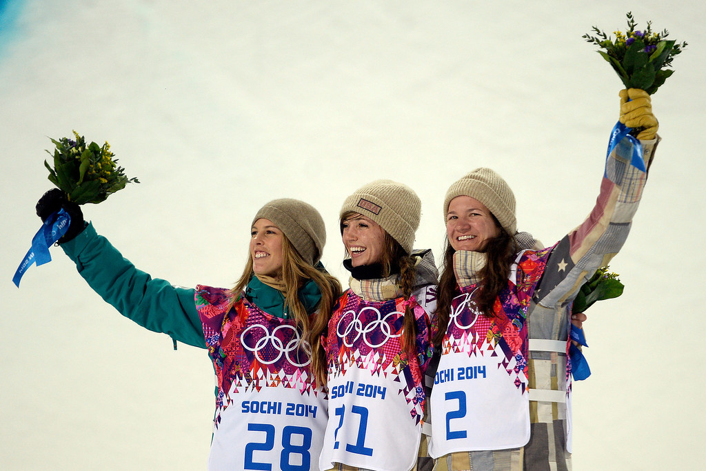 . American gold medalist Kaitlyn Farrington celebrates with silver medalist Australian Torah Bright (left) and bronze medalist American Kelly Clark look on after  women\'s snowboard halfpipe final at the Rosa Khutor Extreme Park. Sochi 2014 Winter Olympics on Wednesday, February 12, 2014. (Photo by AAron Ontiveroz/The Denver Post)