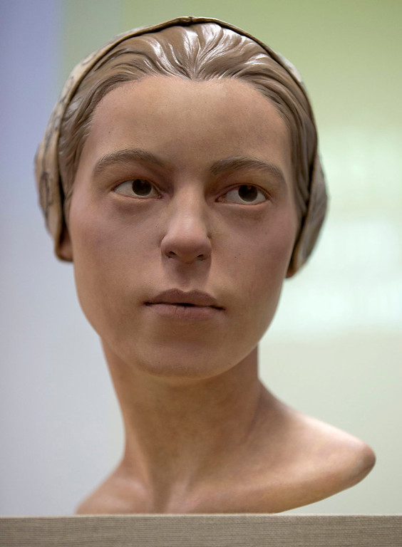 """. A facial reconstruction of \""""Jane of Jamestown\"""" is seen during a news conference at the Smithsonian\'s National Museum of Natural History in Washington, Wednesday, May 1, 2013. Scientists announced during the news conference that they have found the first solid archaeological evidence that some of the earliest American colonists at Jamestown, Va., survived harsh conditions by turning to cannibalism presenting the discovery of the bones of a 14-year-old girl, \""""Jane\"""" that show clear signs that she was cannibalized. (AP Photo/Carolyn Kaster)"""