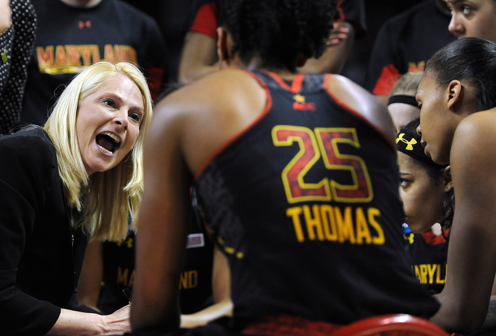 . Maryland head coach Brenda Frese, left, speaks to her players during a timeout in the second half of a regional semifinal against Connecticut in the NCAA college basketball tournament in Bridgeport, Conn., Saturday, March 30, 2013. Connecticut won 76-50. (AP Photo/Jessica Hill)