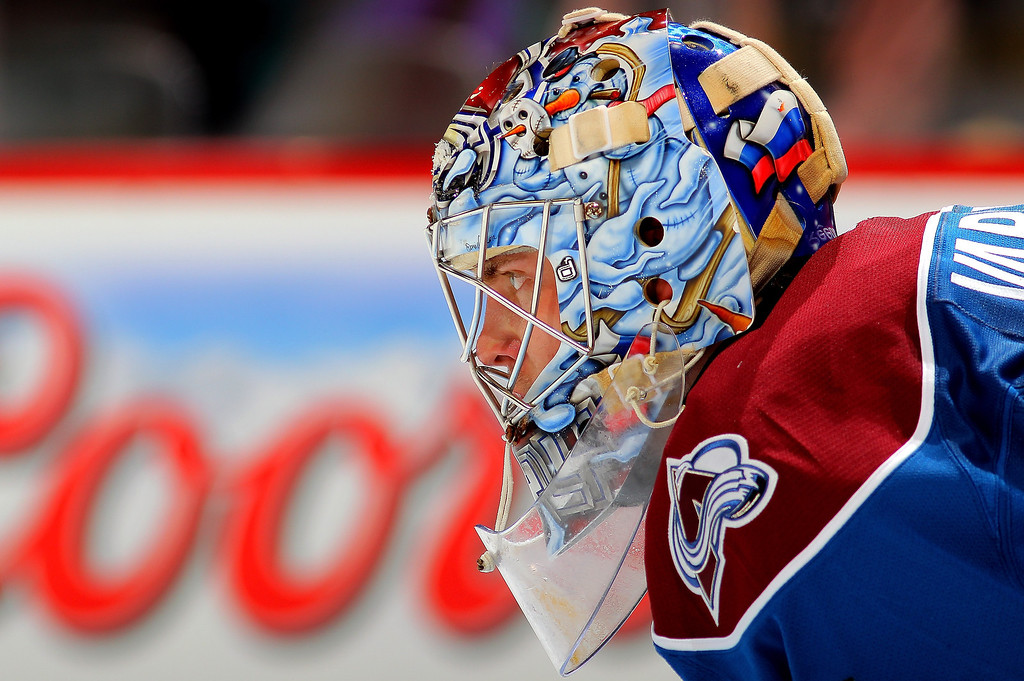. Goalie Semyon Varlamov #1 of the Colorado Avalanche looks as he defends the goal against the St. Louis Blues at the Pepsi Center on February 20, 2013 in Denver, Colorado.  (Photo by Doug Pensinger/Getty Images)