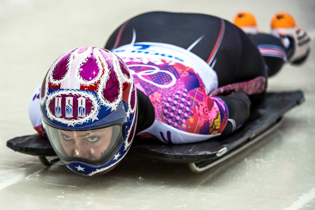 . Noelle Pikus-Pace, of Orem, competes in the women\'s skeleton at the Sanki Sliding Center during the 2014 Sochi Olympics Thursday February 13, 2014. 