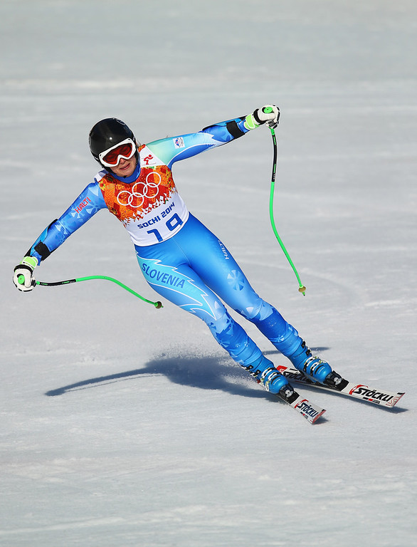 . Tina Maze of Slovenia finishes a runduring the Alpine Skiing Women\'s Super-G on day 8 of the Sochi 2014 Winter Olympics at Rosa Khutor Alpine Center on February 15, 2014 in Sochi, Russia.  (Photo by Clive Rose/Getty Images)