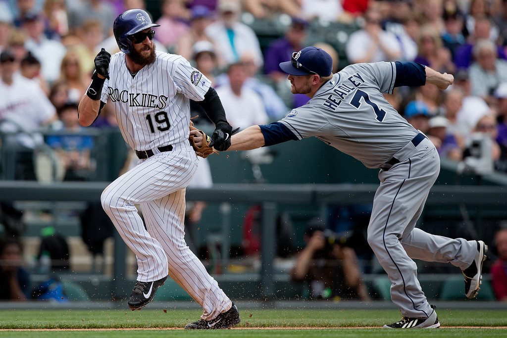 . Chase Headley #7 of the San Diego Padres tags out Charlie Blackmon #19 of the Colorado Rockies during a run down for the second out of the seventh inning at Coors Field on May 18, 2014 in Denver, Colorado. The Rockies defeated the Padres 8-6 in 10 innings. (Photo by Justin Edmonds/Getty Images)