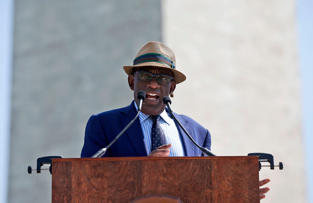 """. Master of Ceremonies Al Roker, of NBC\'s \""""Today Show\"""", speaks at the Washington Monument in Washington, Monday, May 12, 2014, during a ceremony to celebrate its re-opening. (AP Photo)"""