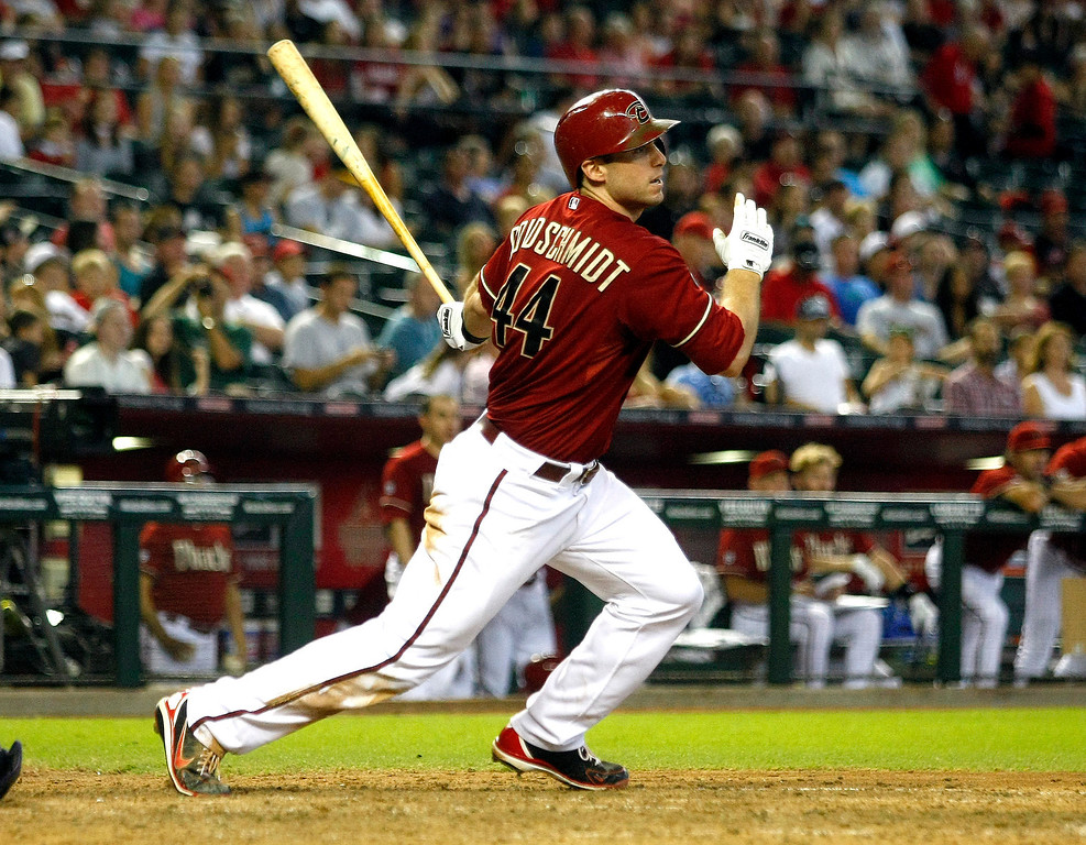. Arizona Diamondbacks\' Paul Goldschmidt (44) singles in the seventh inning during a baseball game against the Colorado Rockies, Sunday, Sept. 15, 2013, in Phoenix. (AP Photo/Rick Scuteri)
