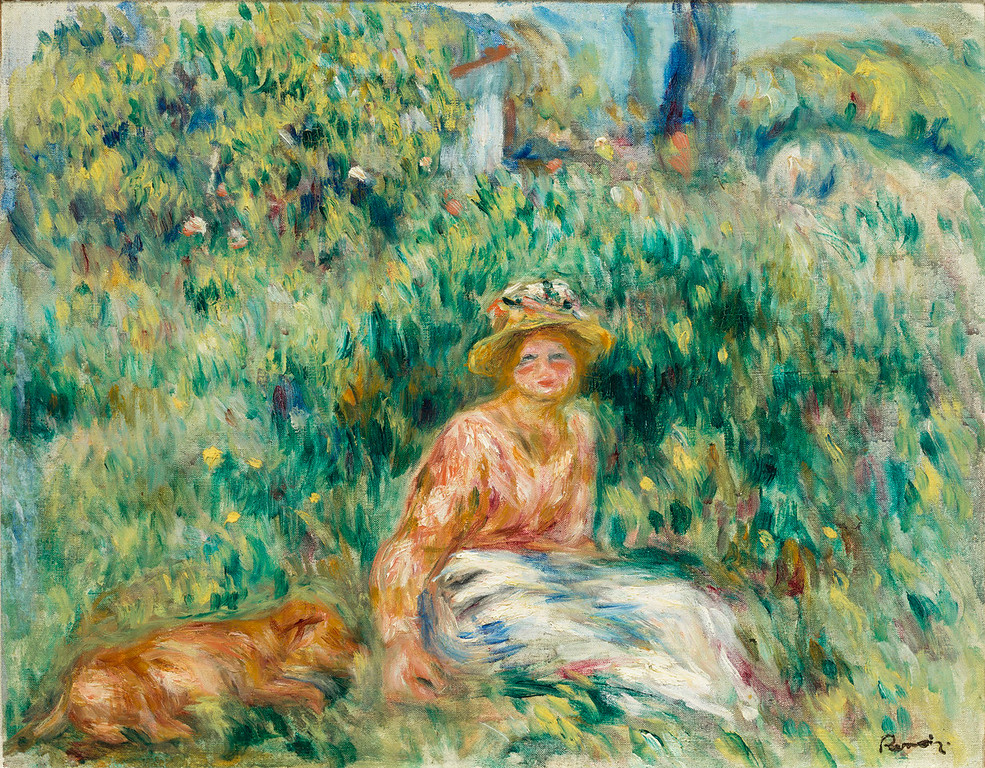 ". Pierre Auguste Renoir,\'Femme Couchee dans L\'Herbe,"" 1916, oil on canvas, 15.52x20\""  (Image provided by the Denver Art Museum)"