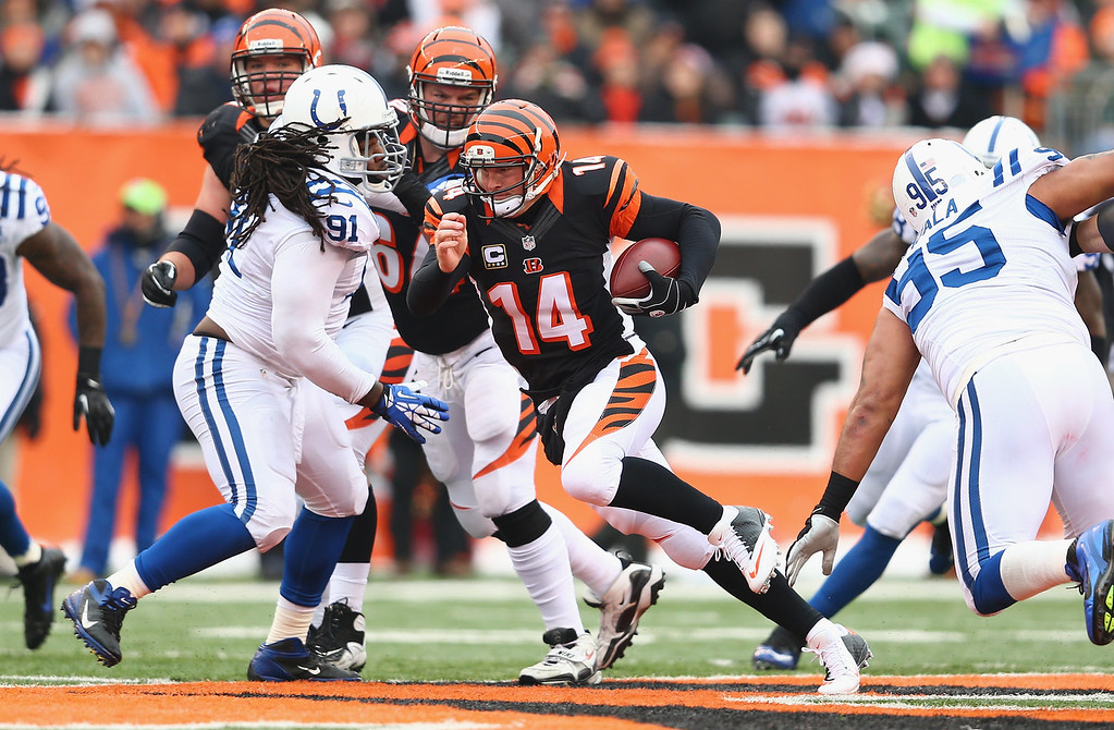 . Andy Dalton #14 of the Cincinnati Bengals runs with the ball during the NFL game against the Indianapolis Colts  at Paul Brown Stadium on December 8, 2013 in Cincinnati, Ohio.  (Photo by Andy Lyons/Getty Images)