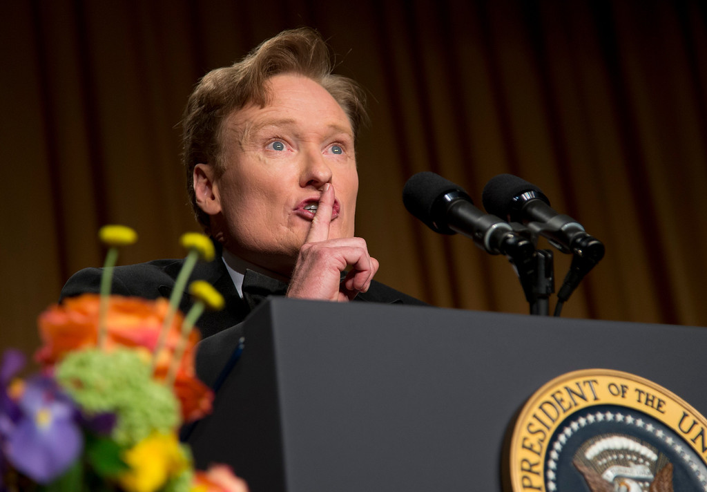 . Late-night television host and comedian Conan O\'Brien speaks during the White House Correspondents\' Association Dinner at the Washington Hilton Hotel, Saturday, April 27, 2013, in Washington.  (AP Photo/Carolyn Kaster)