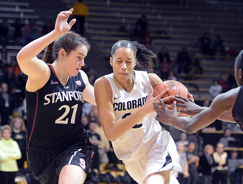 . Arielle Roberson of CU drives on Sara James of Stanford during the first half of the January 12, 2014 game in Boulder. Cliff Grassmick/Daily Camera