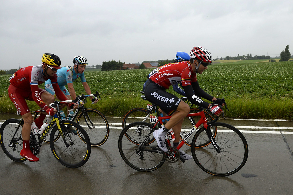 . (From R) France\'s Tony Gallopin, Australia\'s Simon Clarke, Netherlands\' Lieuwe Westra and Estonia\'s Rein Taaramae lead a breakaway during the 155 km fifth stage of the 101st edition of the Tour de France cycling race on July 9, 2014 between Ypres, northwestern Belgium, and Arenberg Porte du Hainaut in Wallers northern France.  AFP PHOTO / ERIC  FEFERBERG/AFP/Getty Images