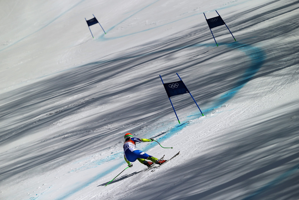 . Ilka Stuhec of Slovenia in action during the Alpine Skiing Women\'s Super Combined Downhill on day 3 of the Sochi 2014 Winter Olympics at Rosa Khutor Alpine Center on February 10, 2014 in Sochi, Russia.  (Photo by Clive Rose/Getty Images)