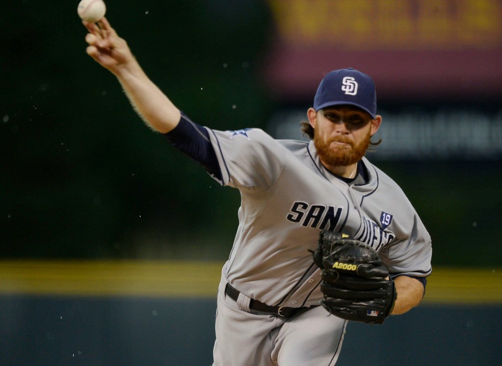 . San Diego Padres starting pitcher Ian Kennedy (22) delivers a pitch in the first inning against the Colorado Rockies July 7, 2014 at Coors Field. (Photo by John Leyba/The Denver Post)