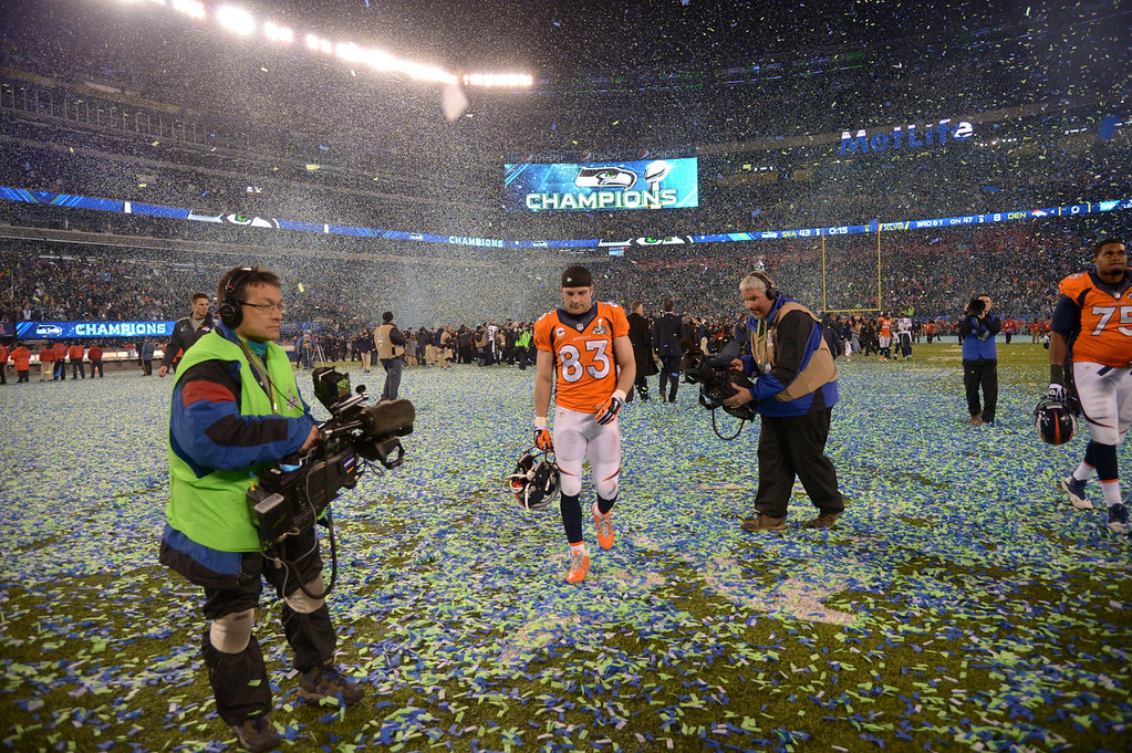 . Denver Broncos wide receiver Wes Welker (83) walks on the field after the Seattle Seahawks beat the Denver Broncos 43-8 in Super Bowl 48. The Denver Broncos vs the Seattle Seahawks in Super Bowl XLVIII at MetLife Stadium in East Rutherford, New Jersey Sunday, February 2, 2014. (Photo by John Leyba/The Denver Post)