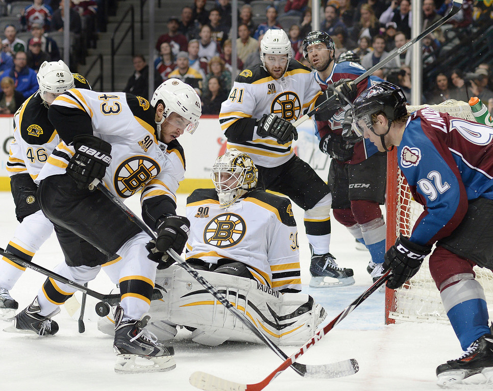 . The Avs played the last minutes of the game with a man advantage but failed to score. The Boston Bruins blanked the Colorado Avalanche 2-0 at the Pepsi Center Friday night, March 21, 2014. (Photo by Karl Gehring/The Denver Post)