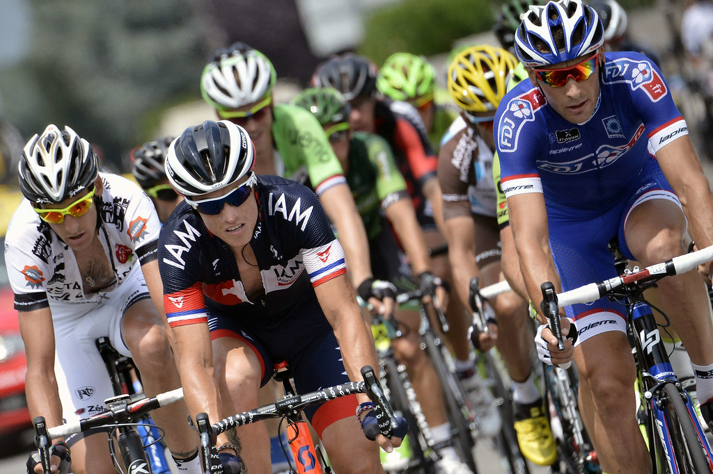 . (From L) France\'s Florian Guillou, France\'s Sylvain Chavanel, and France\'s Matthieu Ladagnous ride in a breakaway during the 145.5 km eighteenth stage of the 101st edition of the Tour de France cycling race on July 24, 2014 between Pau and Hautacam, southwestern France.  AFP PHOTO / JEFF PACHOUD/AFP/Getty Images