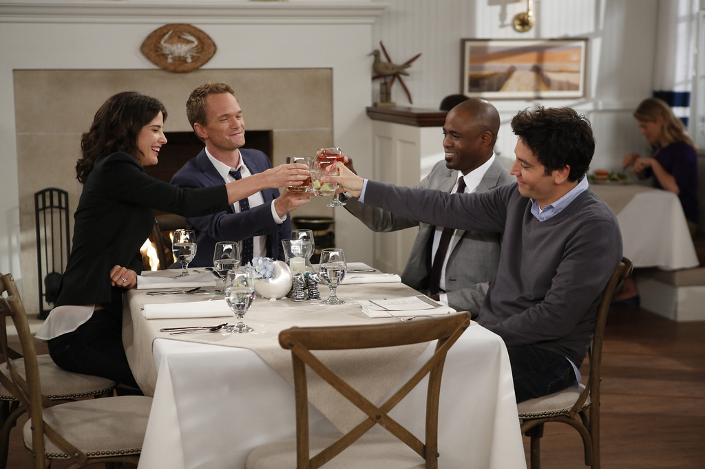 """. \""""Coming Back\"""" -- The wedding weekend is here! Robin (Cobie Smulders),Barney (Neil Patrick Harris), James (Wayne Brady) and Ted (Josh Radnor) share a toast before the chaos begins. The ninth season of HOW I MET YOUR MOTHER premieres with a special one-hour episode, Monday, Sept. 23 (8:00-9:00 PM, ET/PT) on the CBS Television Network. Photo: Cliff Lipson/CBS ���© 2013 CBS Broadcasting, Inc. All Rights Reserved."""
