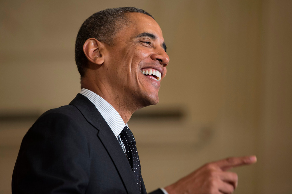 . President Barack Obama smiles as he speaks in the East Room of the White House in Washington, Tuesday, May 27, 2014, during the 2014 White House Science Fair. (AP Photo/ Evan Vucci)