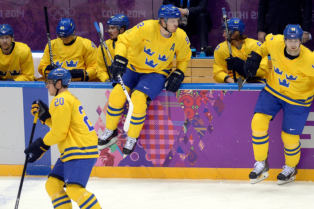 . Sweden\'s Gabriel Landeskog jumps into action against Switzerland during the action at Bolshoy Arena. Sochi 2014 Winter Olympics on Friday, February 14, 2014. (Photo by AAron Ontiveroz/The Denver Post)