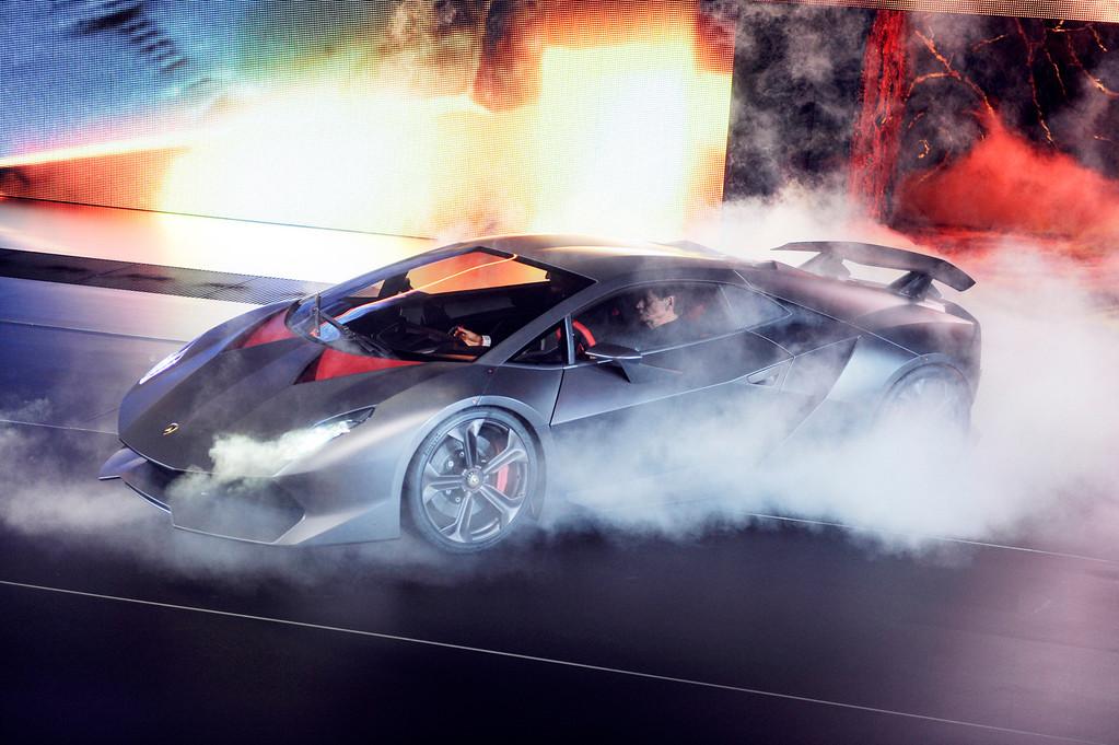 ". The new Lamborghini Sesto Elemento sports car is presented at the \'Mondial de l\'Automobile\"" car show in Paris, 29 September 2010.  EPA/ULI DECK"