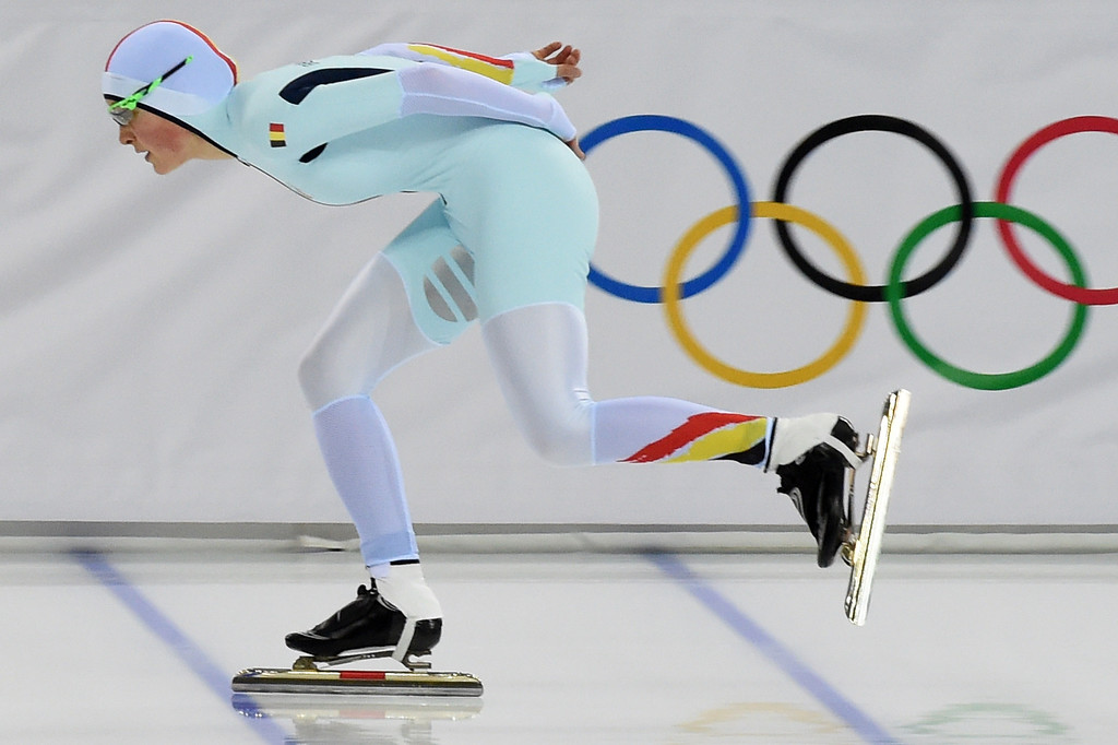 . Belgium\'s Jelena Peeters competes in the Women\'s Speed Skating 3000m at the Adler Arena during the Sochi Winter Olympics on February 9, 2014.    DAMIEN MEYER/AFP/Getty Images