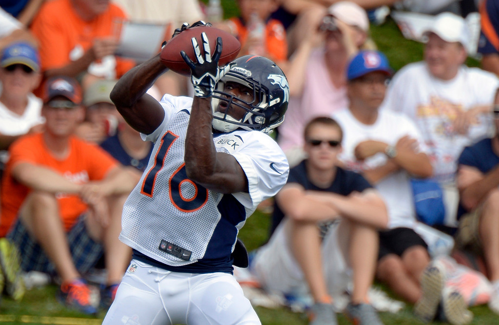 . Denver Broncos Quincy McDuffie (16) catches a pass during training camp August 1, 2013 at Dove Valley. (Photo By John Leyba/The Denver Post)