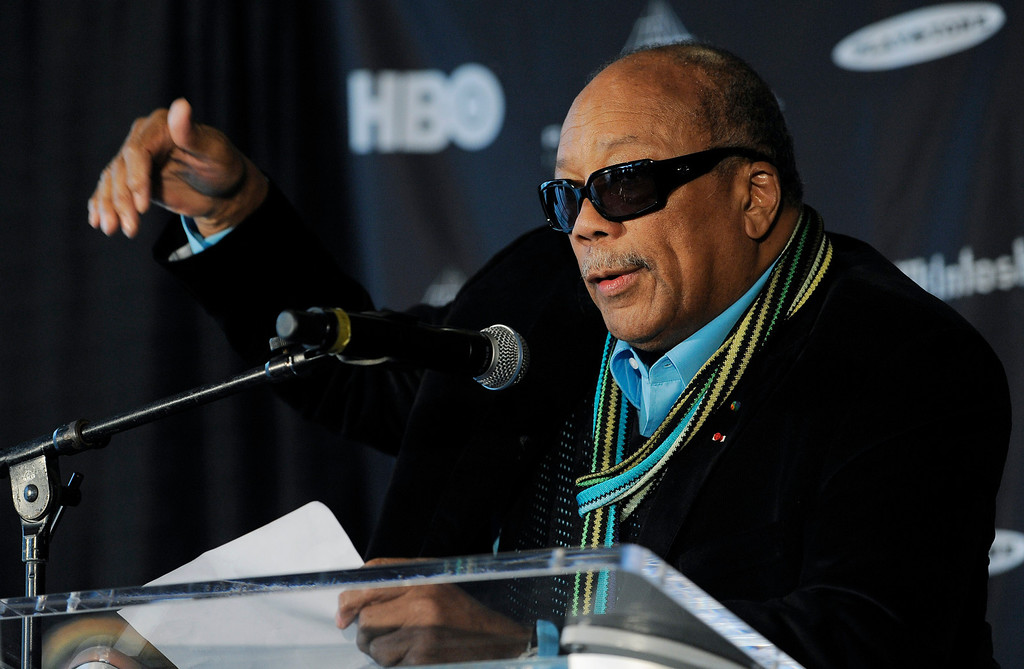 . Rock and Roll Hall of Fame inductee Quincy Jones speaks to reporters at a news conference to announce the 2013 inductees, Tuesday, Dec. 11, 2012, in Los Angeles. The 28th Annual Rock and Roll Hall of Fame Induction Ceremony will be held at the Nokia Theatre L.A. Live in Los Angeles on April 18, 2013. (Photo by Chris Pizzello/Invision/AP)