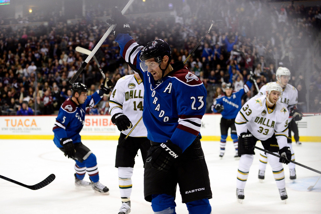. DENVER, CO. - FEBRUARY 4: Milan Hejduk celebrates his goal against the Dallas Stars during the first period of action. Colorado Avalanche versus the Dallas Stars at the Pepsi Center on February 4, 2012. (Photo By AAron Ontiveroz/The Denver Post)