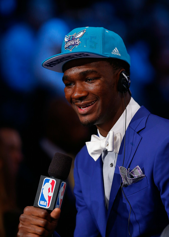 . Noah Vonleh of Indiana is interviewed after being selected with the #9 overall pick by the Charlotte Hornets during the 2014 NBA Draft at Barclays Center on June 26, 2014 in the Brooklyn borough of New York City.   (Photo by Mike Stobe/Getty Images)